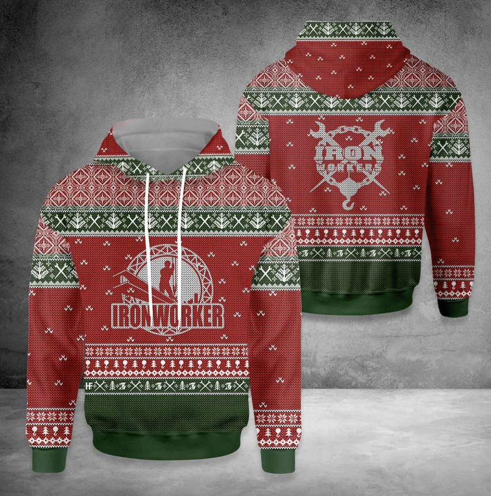 Ironworker all over printed 3D ugly christmas hoodie