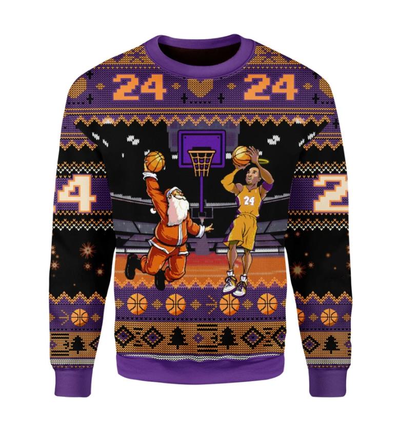 Kobe Bryant and Santa Claus ugly sweater