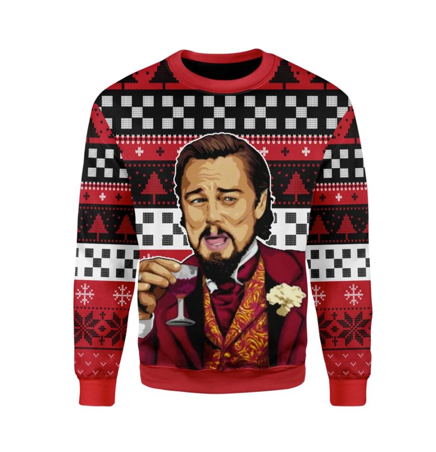 Leonardo Dicaprio laughing meme ugly sweater