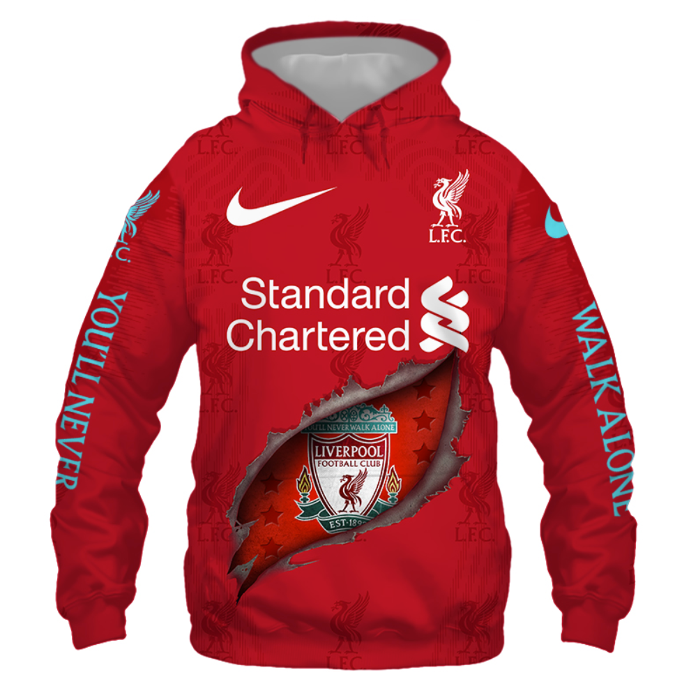 Liverpool football club you'll never walk alone all over printed 3D hoodie