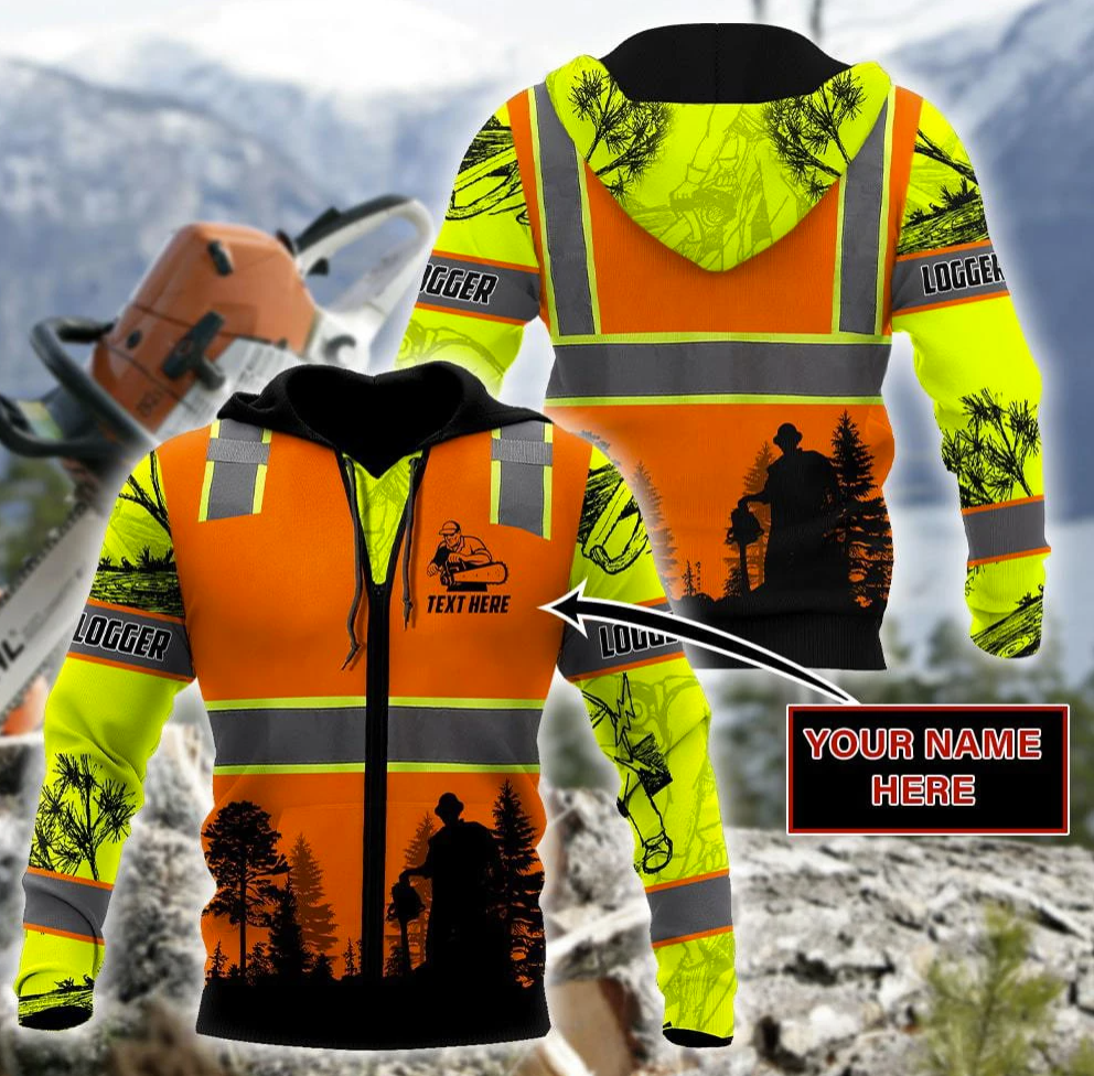 Logging Safety all over printed 3D zip hoodie