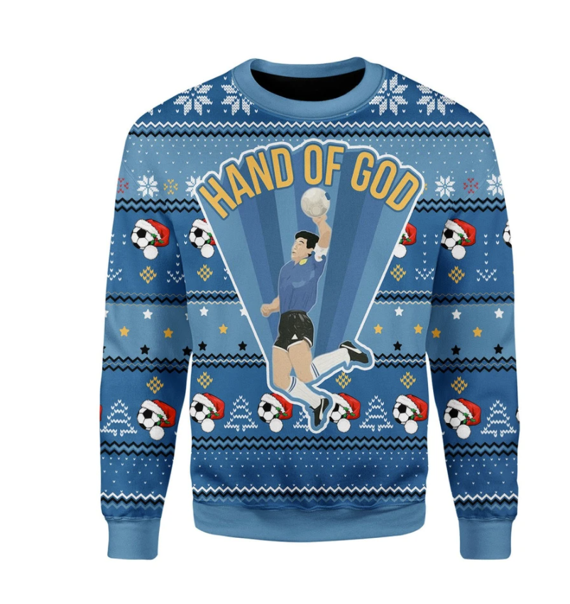 Maradona hand of God ugly sweater