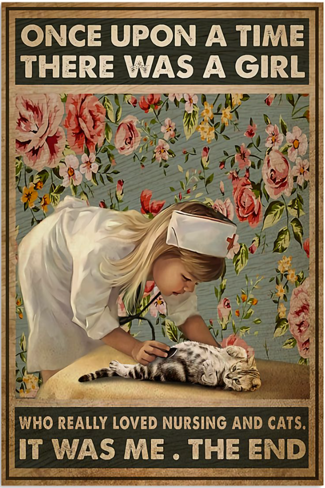 Once upon a time there was a girl who really loved nursing and cats it was me the end poster