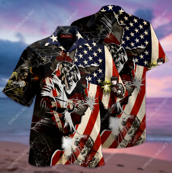 Patriotic welder hawaiian shirt