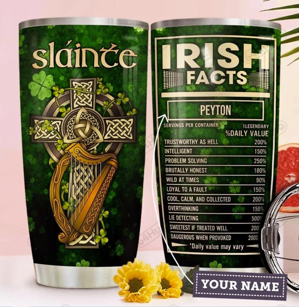 Personalized Irish facts tumbler