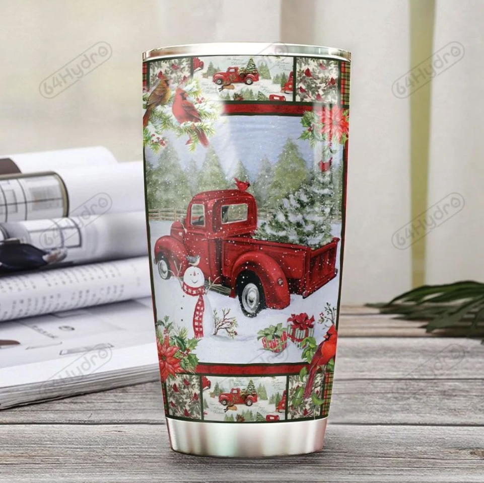 Personalized Red truck Merry Christmas tumbler 1