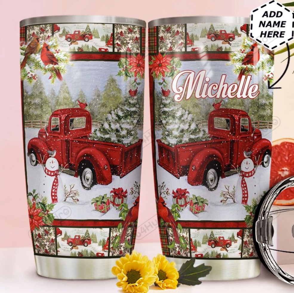 Personalized Red truck Merry Christmas tumbler