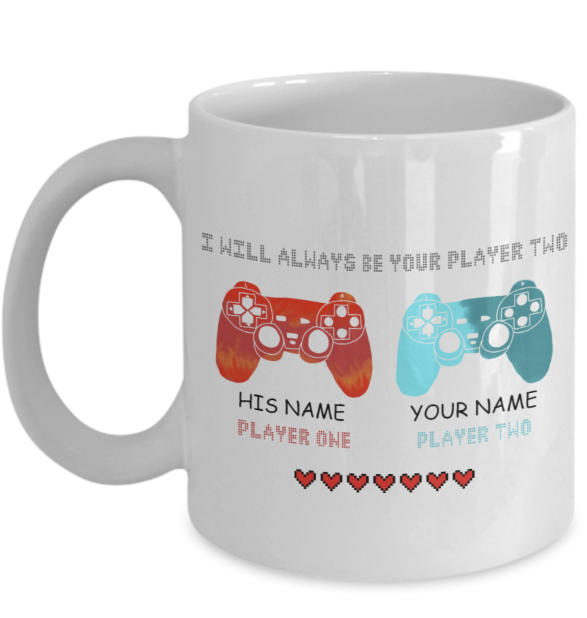 Personalized couple i will always be your player two mug