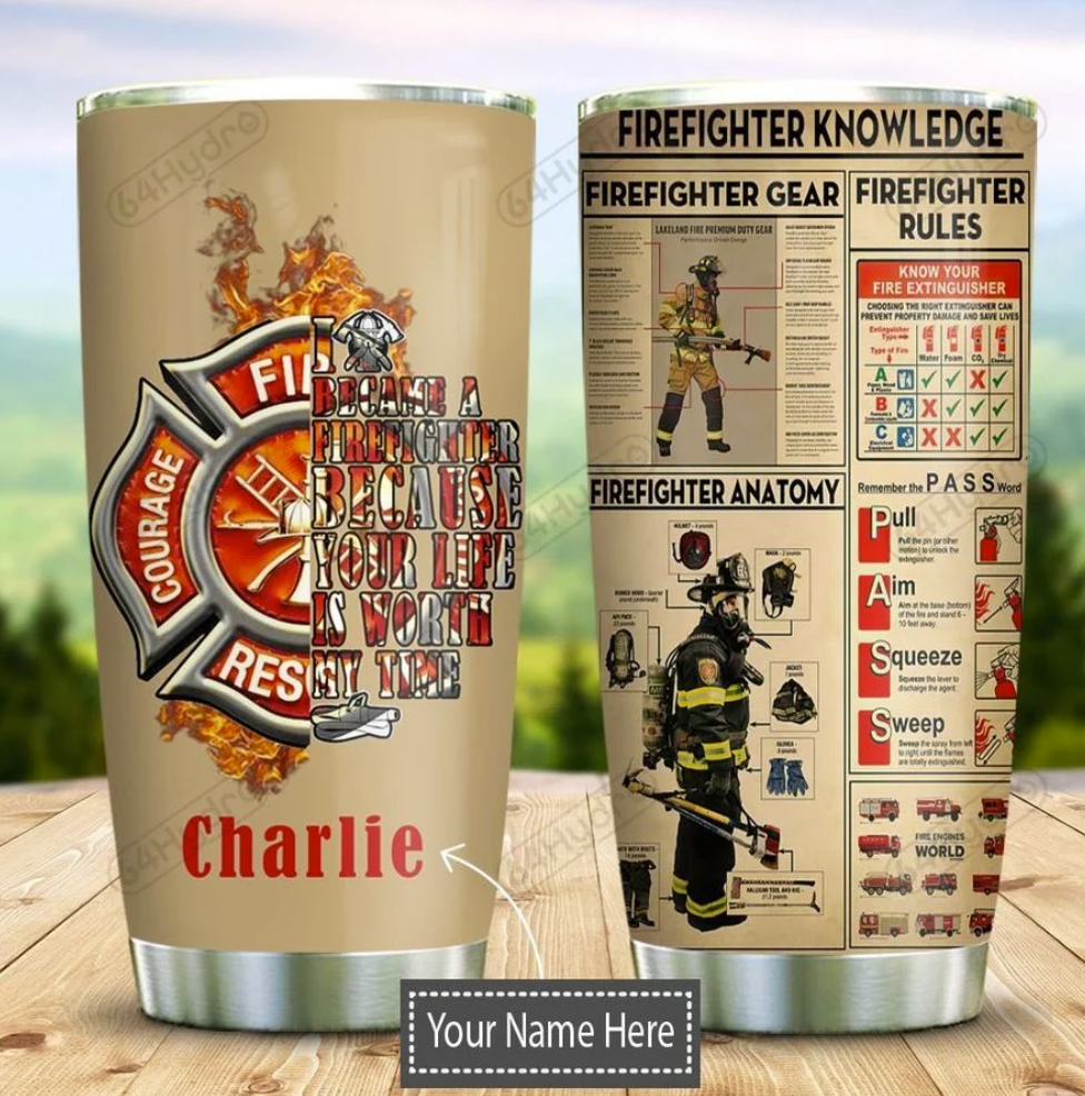 Personalized firefighter knowledge tumbler