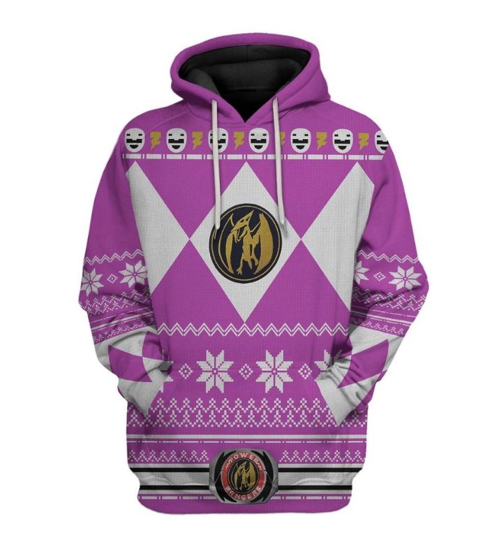 Pink power ranger all over printed 3D hoodie