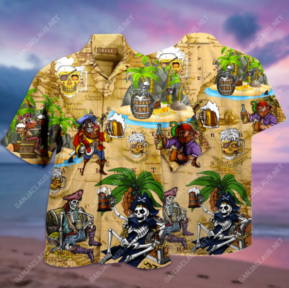 Pirates drinking beer hawaiian shirt