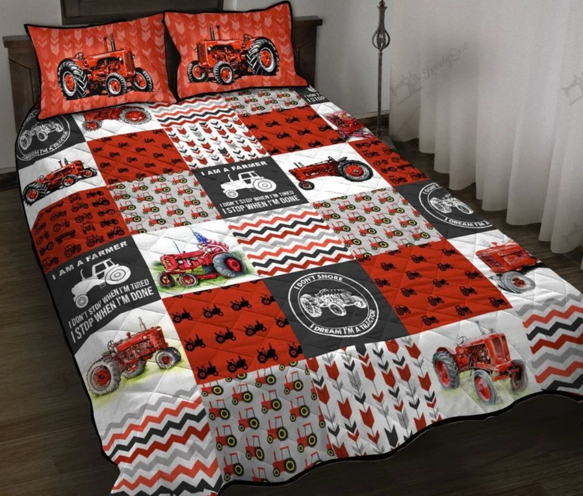 Red tractor i am a farmer bedding set