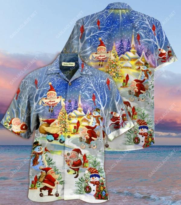 Santa Claus Merry Christmas hawaiian shirt