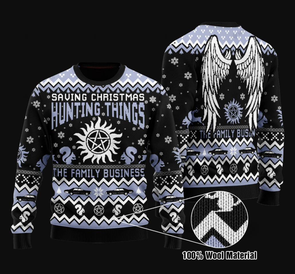 Saving Christmas hunting things the family business ugly sweater