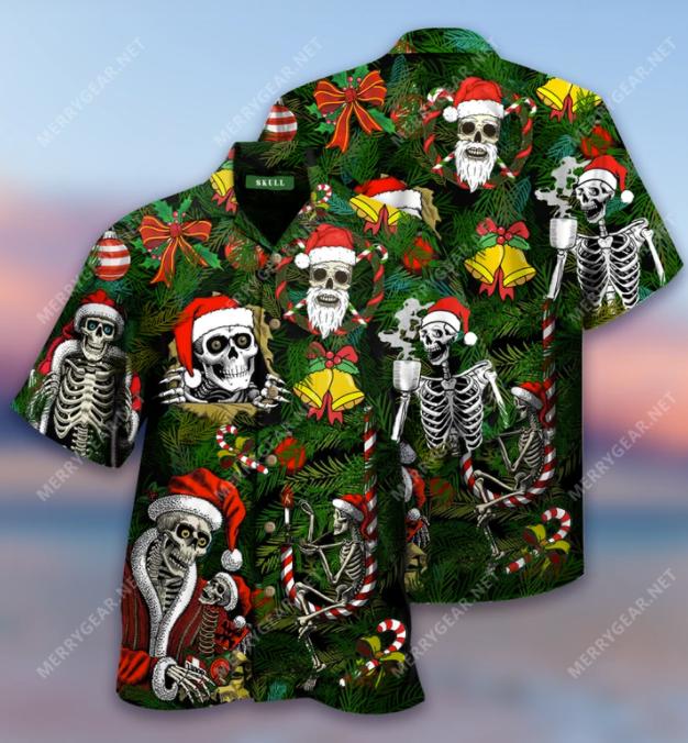 Skeleton Santa Claus hawaiian shirt
