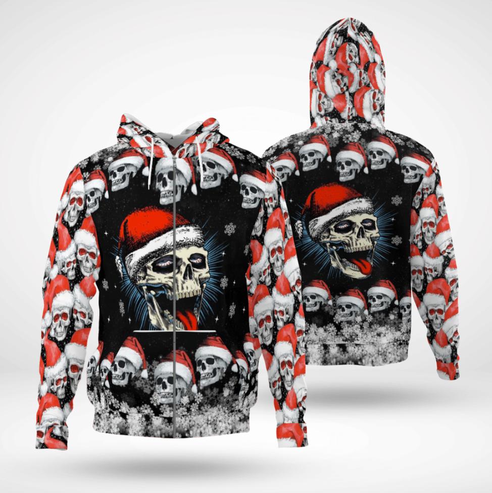 Skull Merry Christmas all over printed 3D zip hoodie