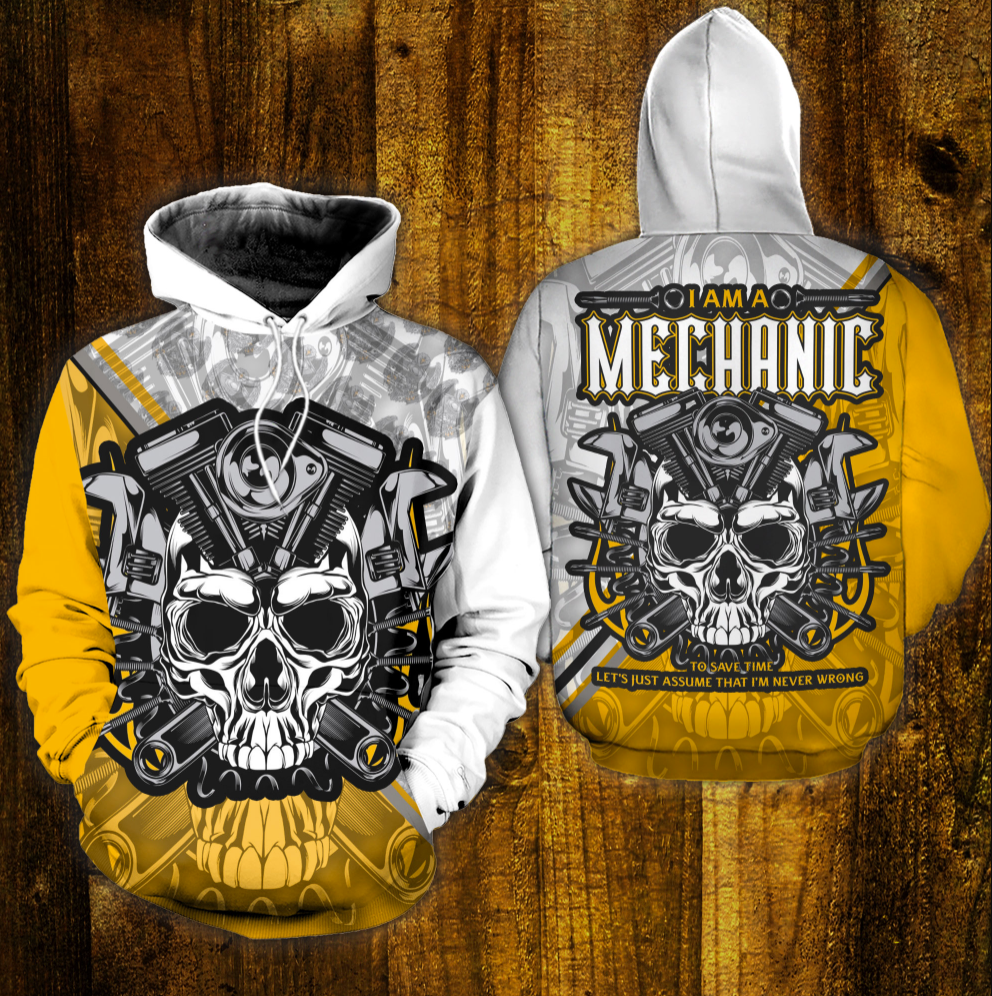 Skull i am a mechanic all over printed 3D hoodie