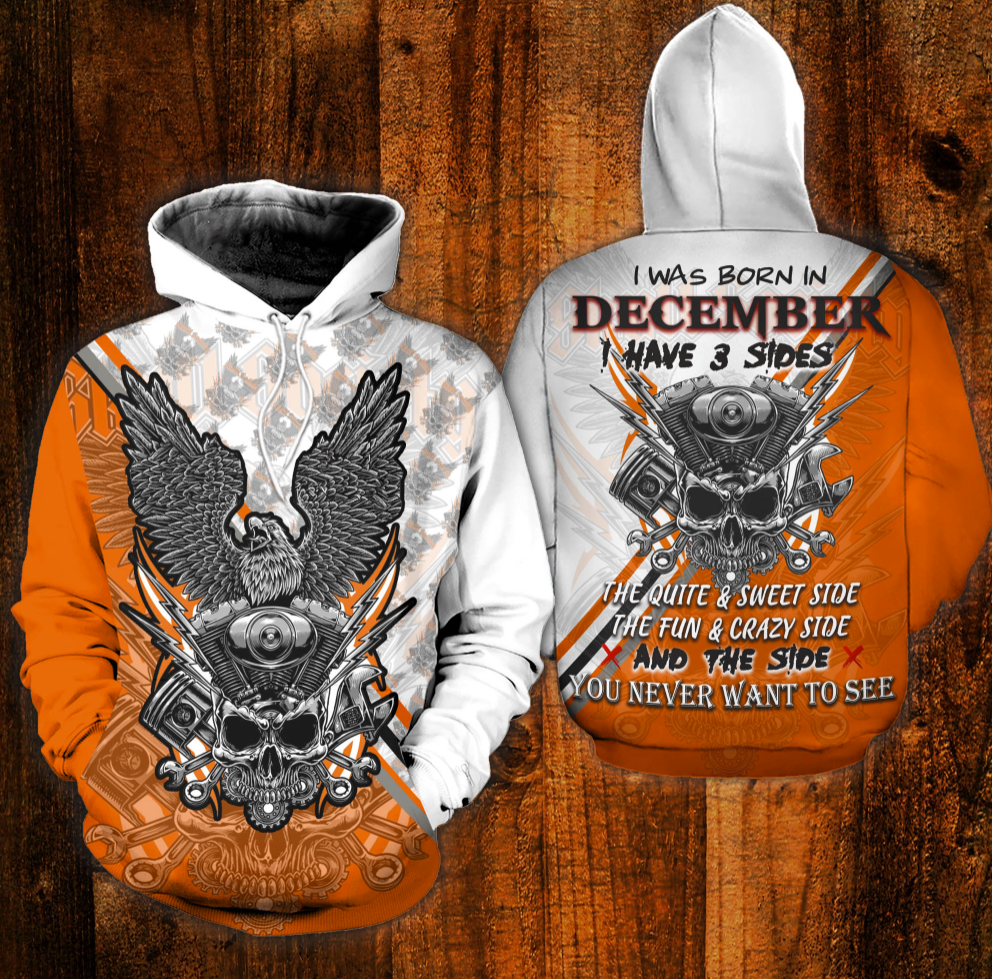 Skull the mechanic i was born in december i have 3 sides all over printed 3D hoodie
