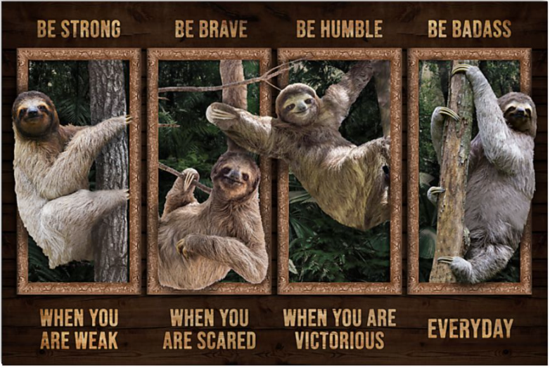 Sloth be strong when you are weak be brave when you are scared poster