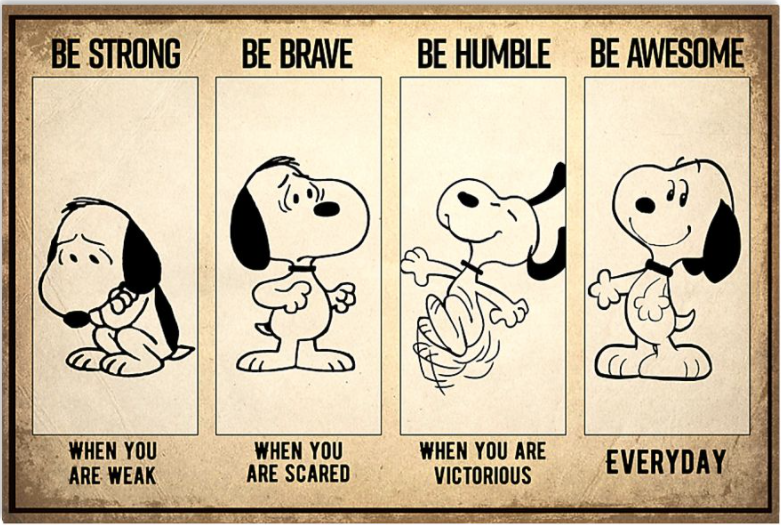 Snoopy be strong when you are weak be brave when you are scared poster