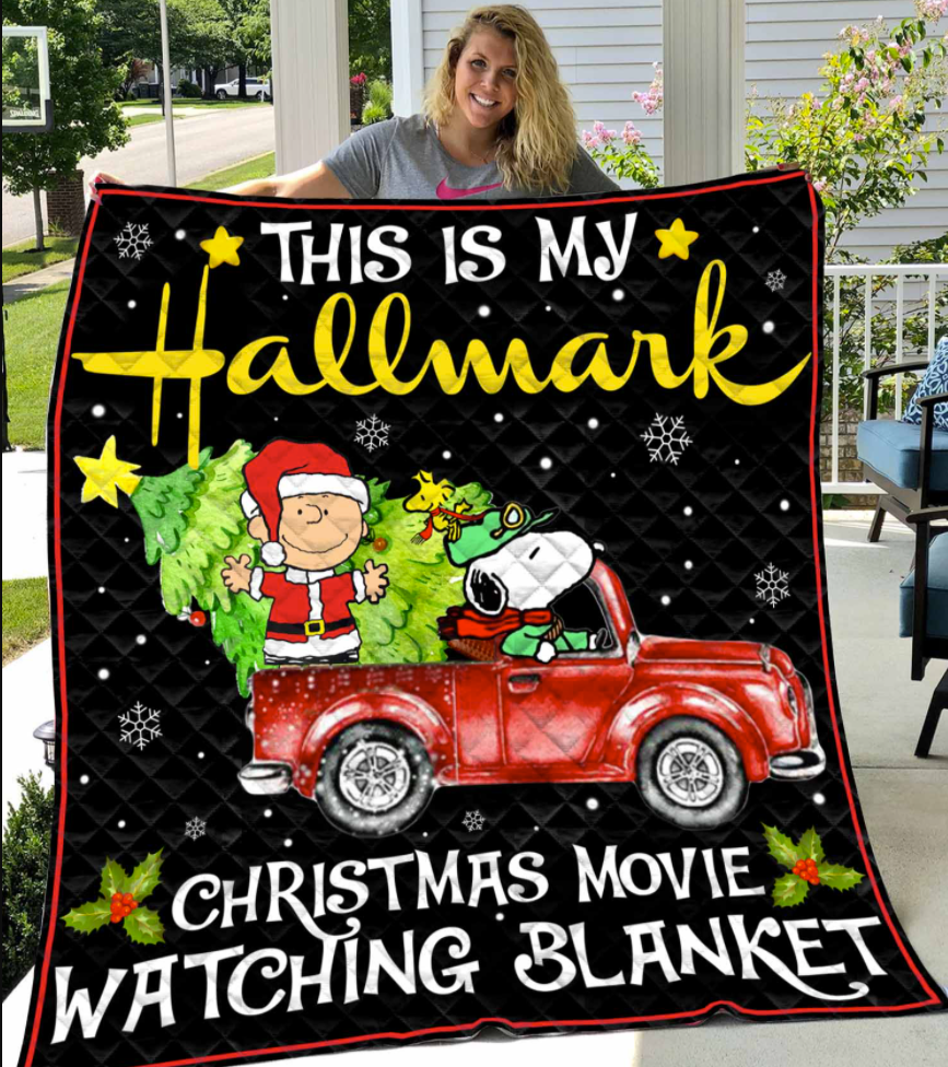 Snoopy this is my Hallmark Christmas movie watching blanket quilt