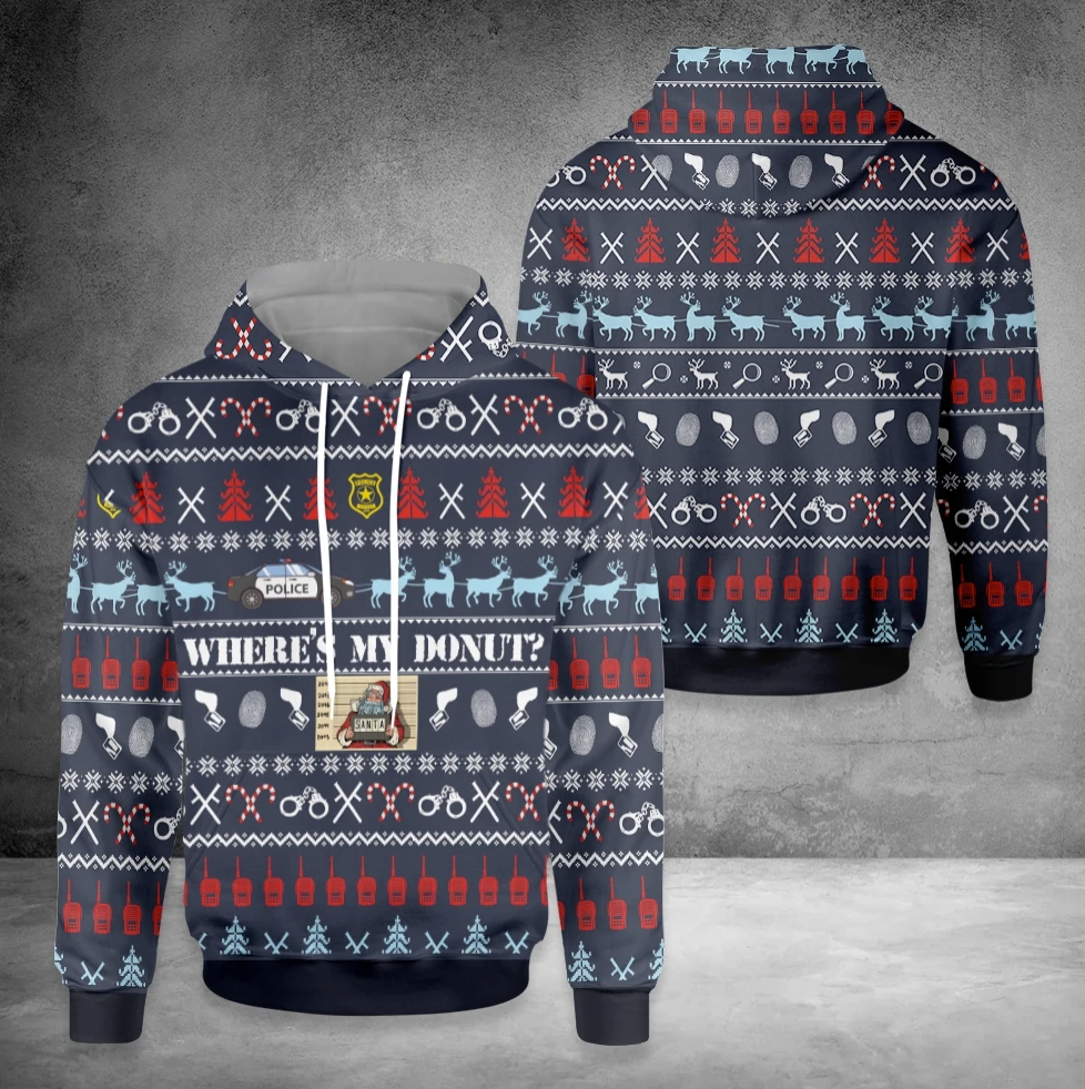 Where's my donut all over printed 3D ugly christmas hoodie