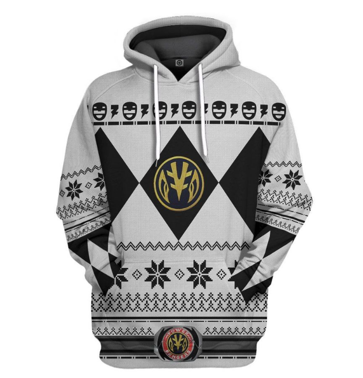 White power ranger all over printed 3D hoodie