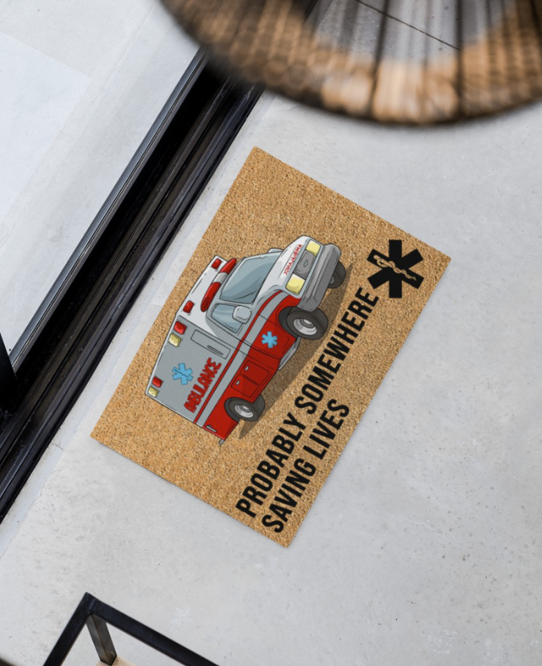 Ambulance probably somewhere saving lives doormat 1