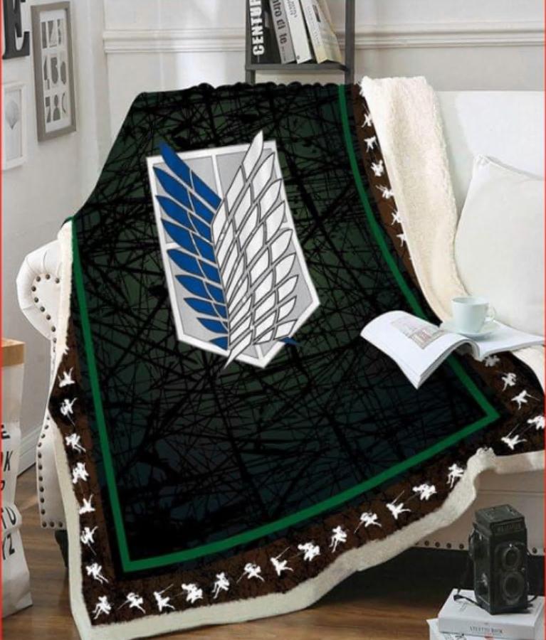 Attack On Titan logo fleece blanket