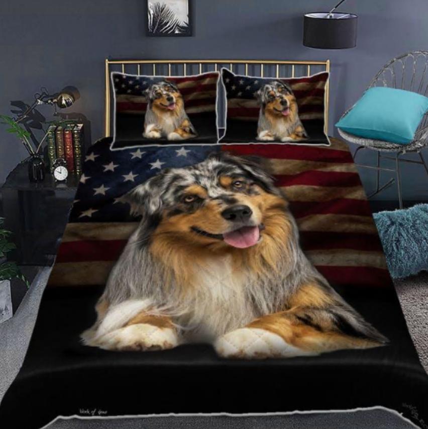 Australian Shepherd American flag bedding set