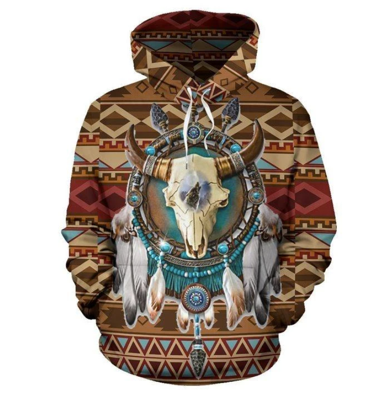 Bison arrow brown native American all over printed 3D hoodie