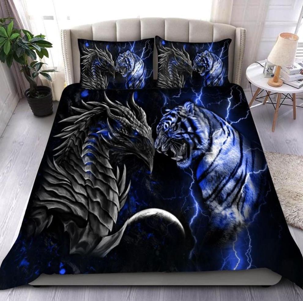 Blue dragon and tiger bedding set 1