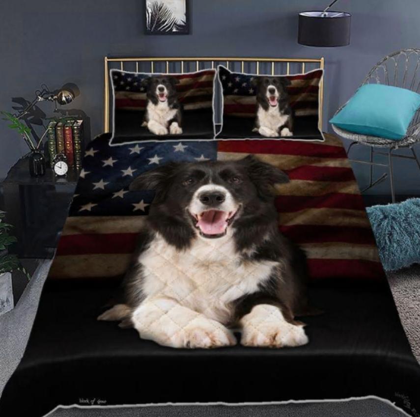 Border Collie American flag bedding set