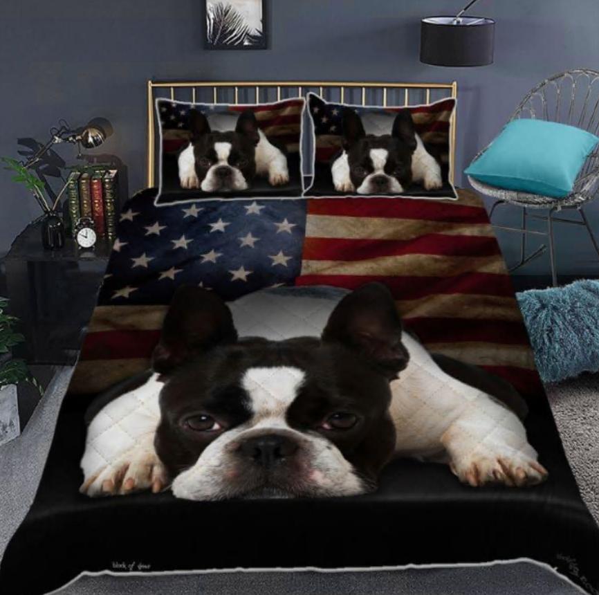 Boston Terrier American flag bedding set