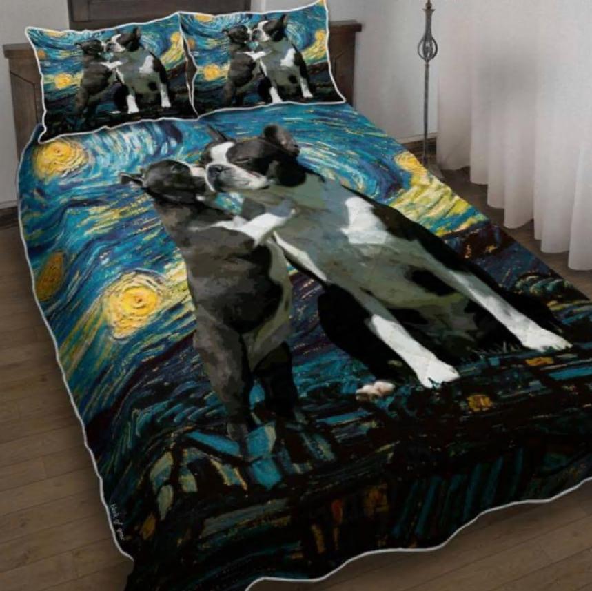 Boston Terrier Starry Night bedding set
