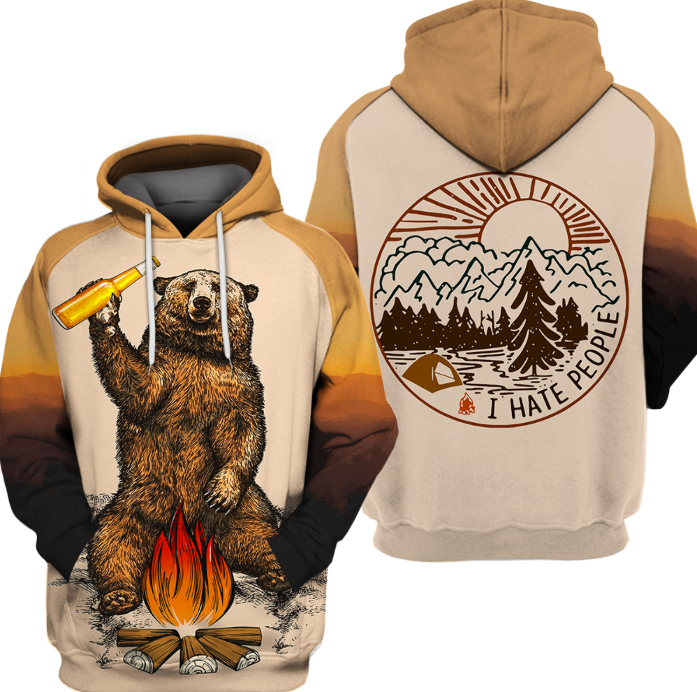 Camping bear i hate people all over printed 3D hoodie