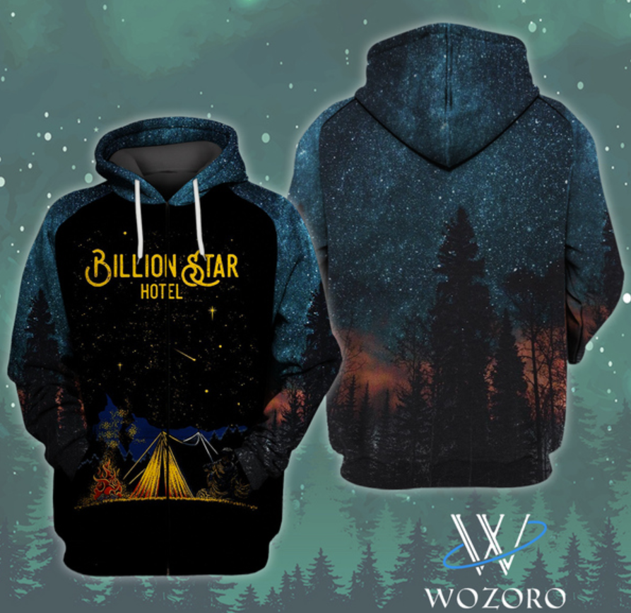 Camping billion star hotel all over printed 3D hoodie
