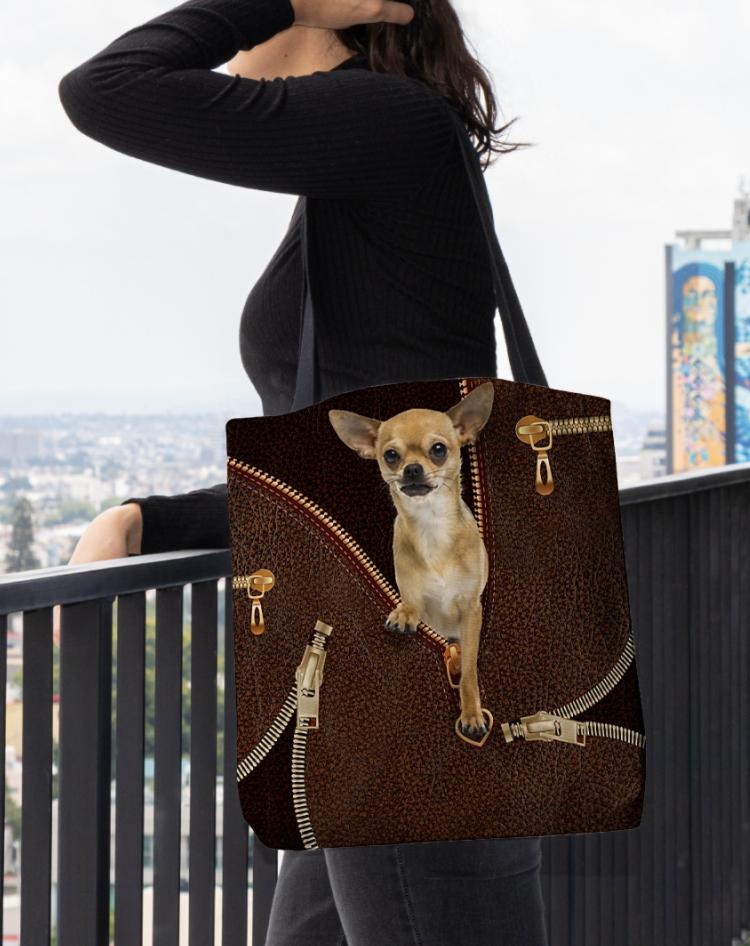 Chihuahua zipper tote bag 1