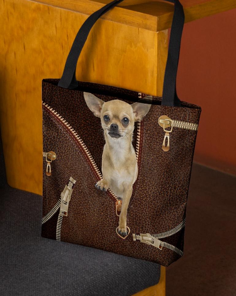 Chihuahua zipper tote bag