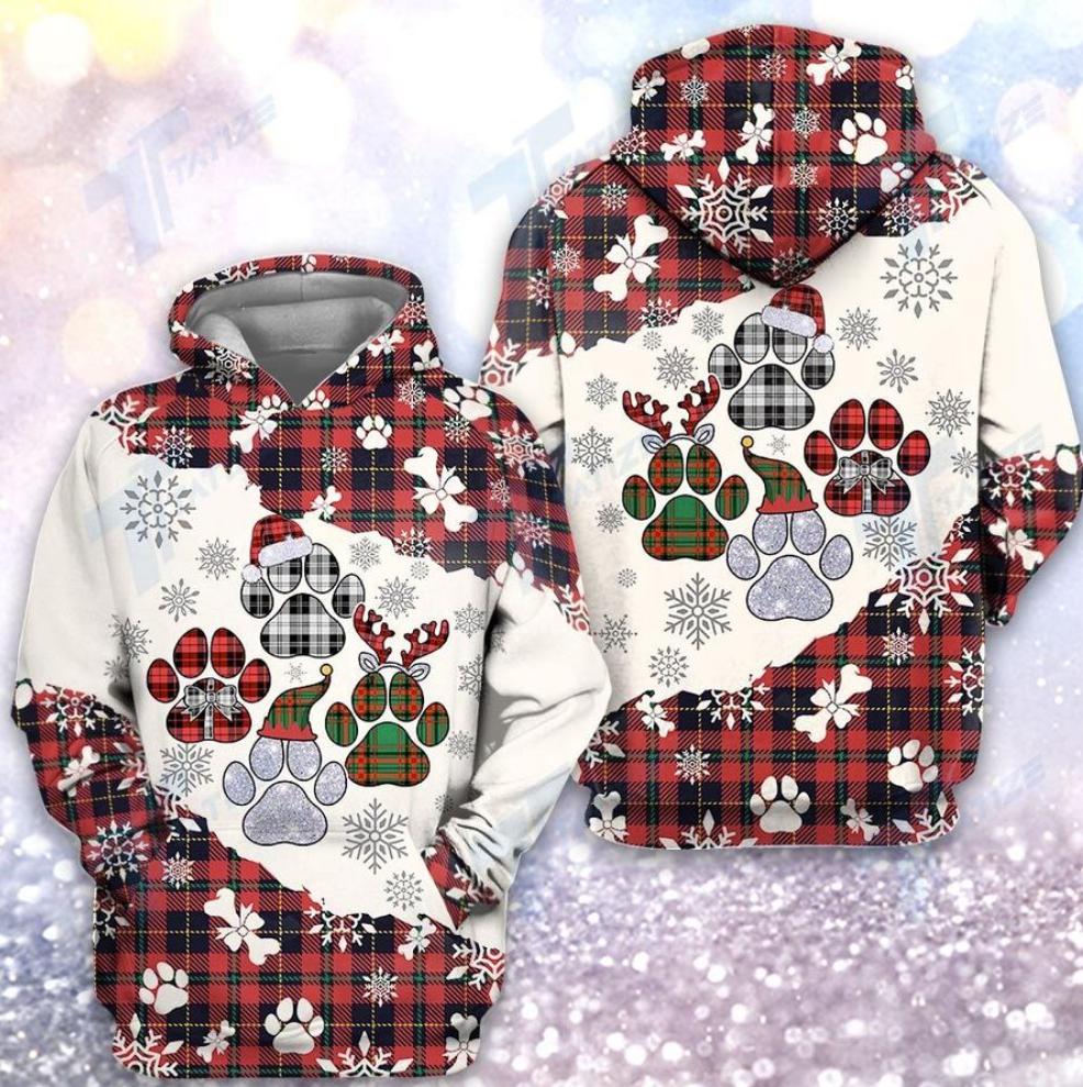 Christmas tartan dog paw all over printed 3d hoodie