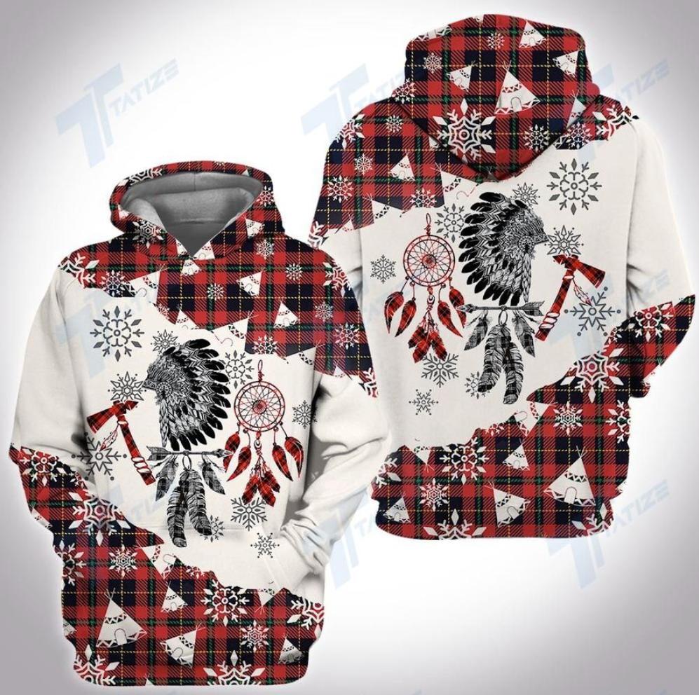 Christmas tartan native all over printed 3d hoodie