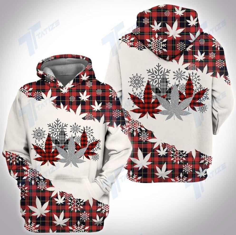 Christmas tartan weed all over printed 3D hoodie