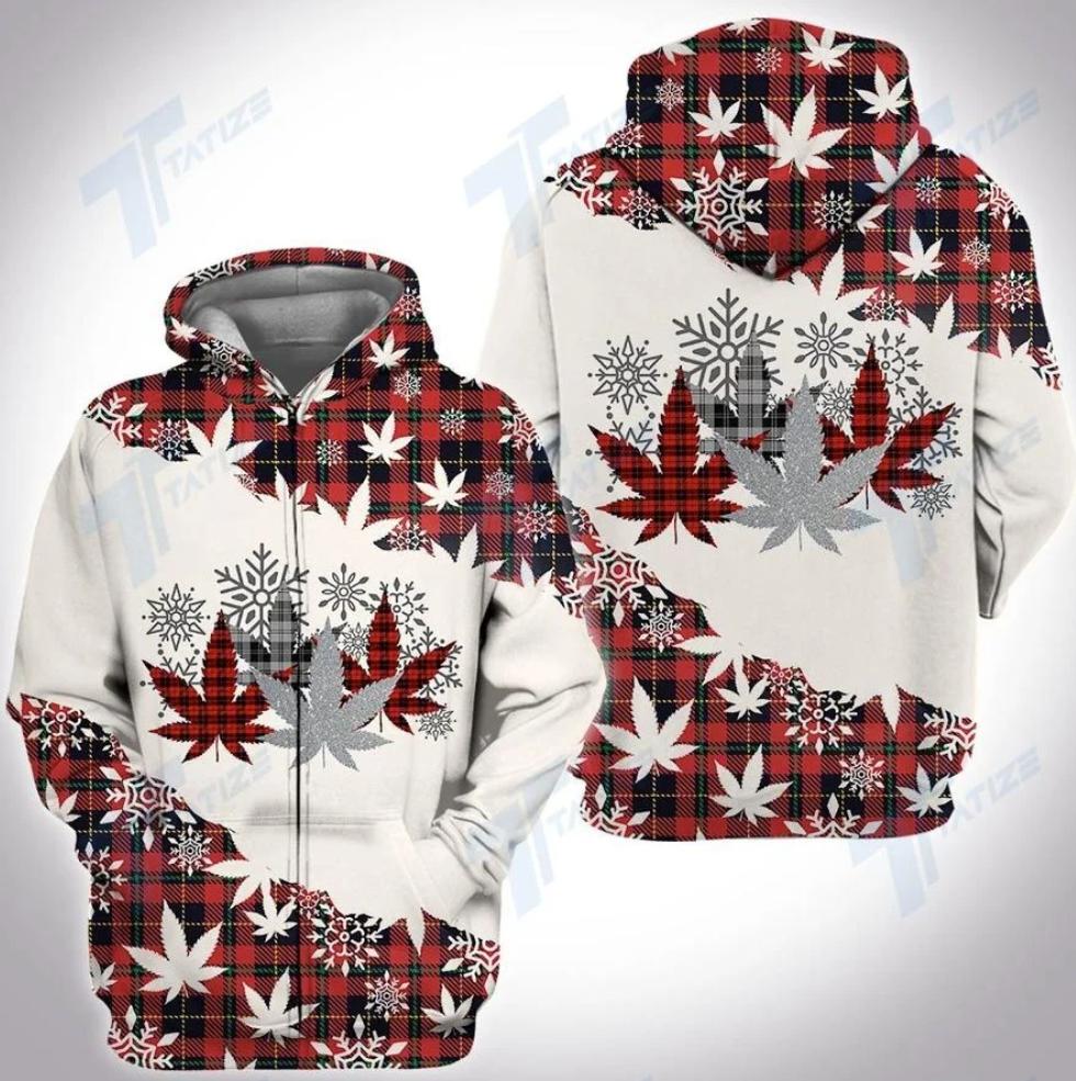 Christmas tartan weed all over printed 3D zip hoodie