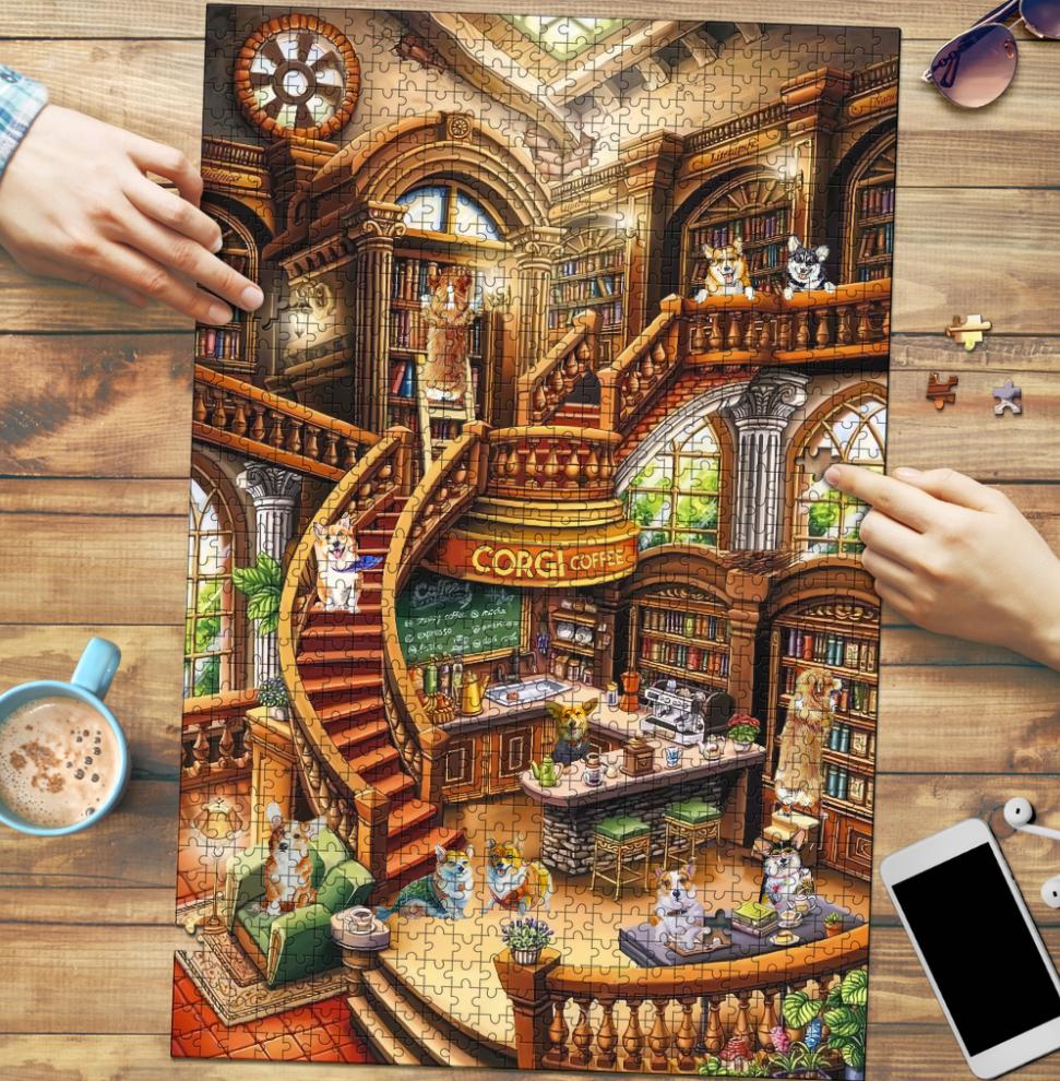 Corgi coffee shop ugly jigsaw puzzle