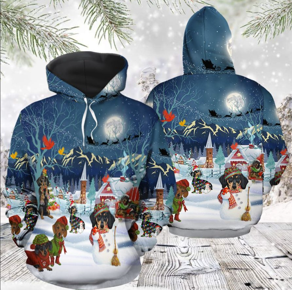 Dachshund Christmas all over printed 3d hoodie