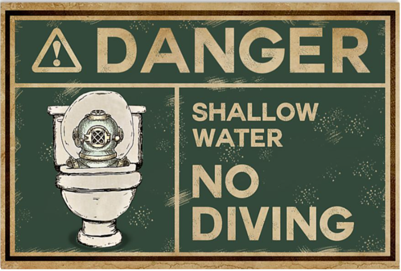 Danger shallow water no diving poster