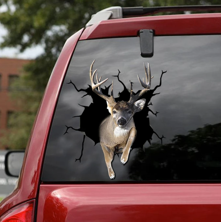 Deer crack car decal