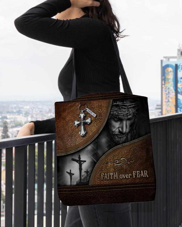 Faith over fear tote bag