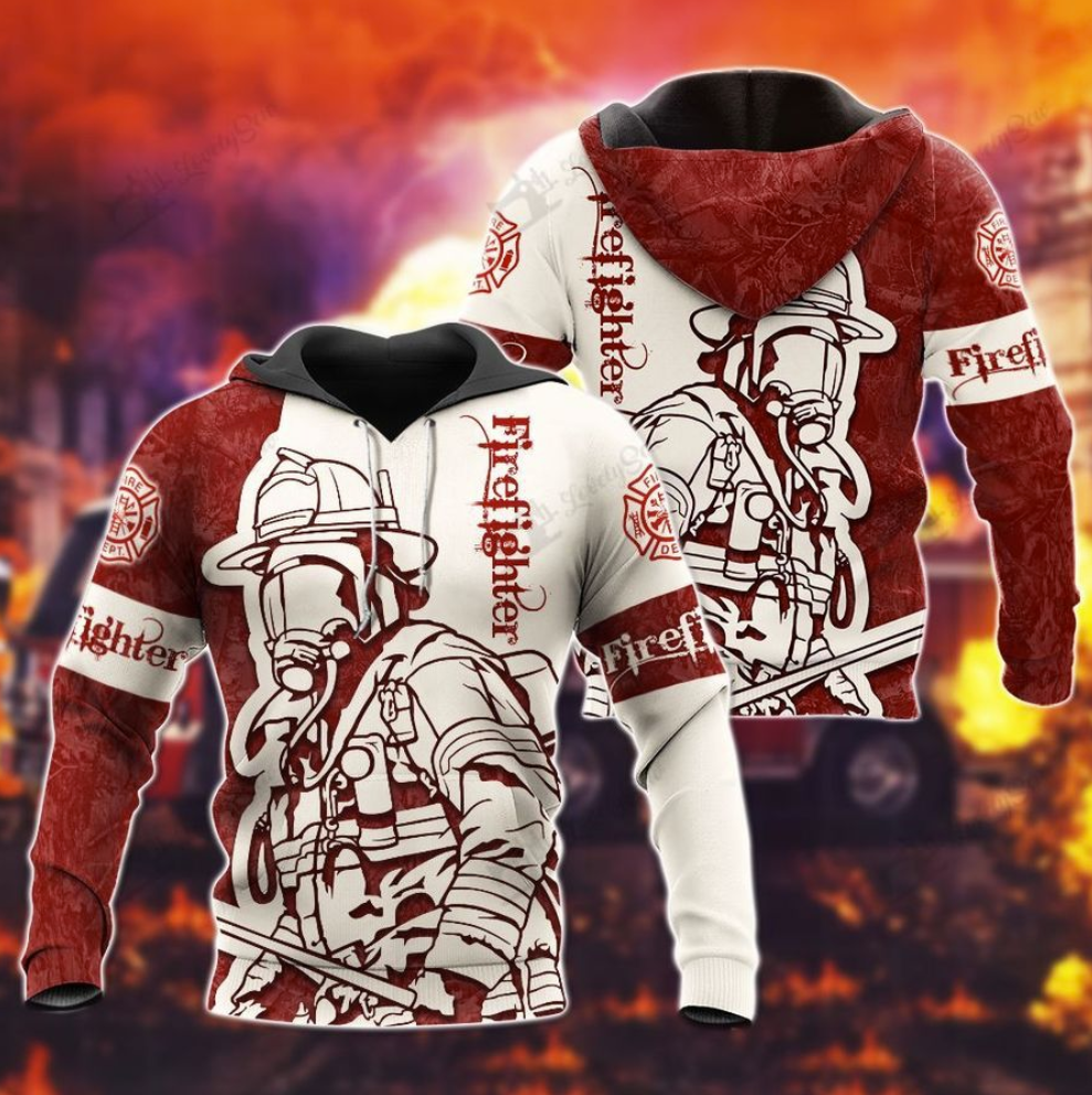 Firefighter all over printed 3d hoodie