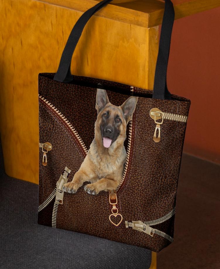 German Shepherd Zipper tote bag